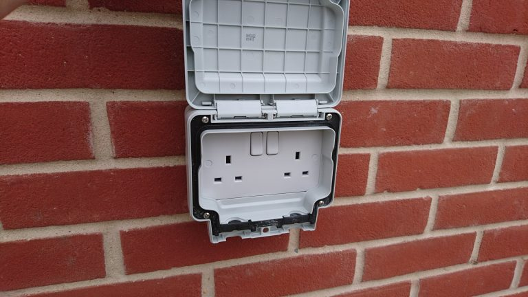 Outdoor IP rated sockets Installed
